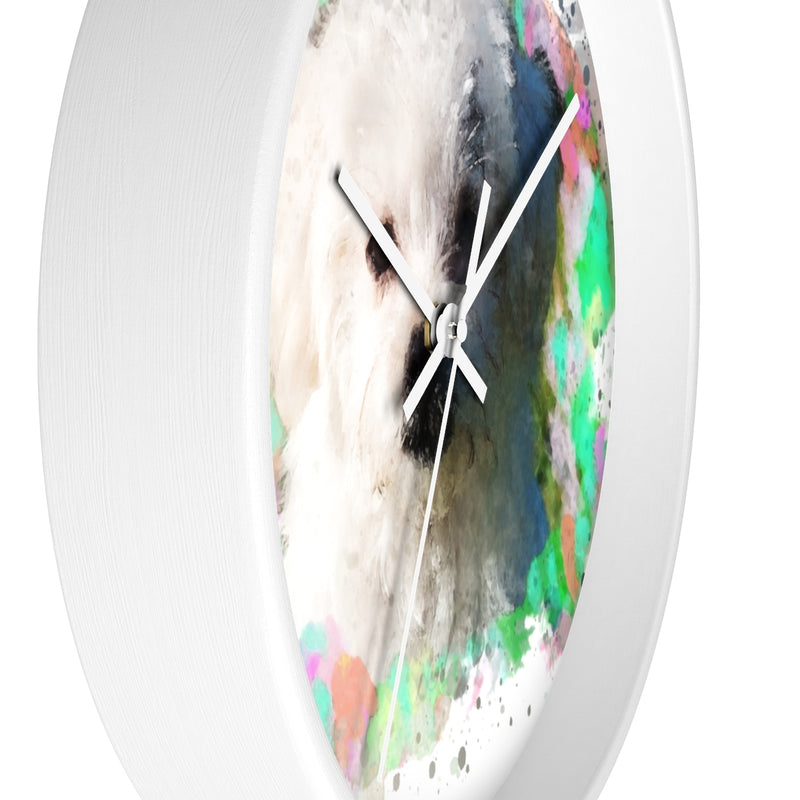 Watercolor Maltese Wall Clock