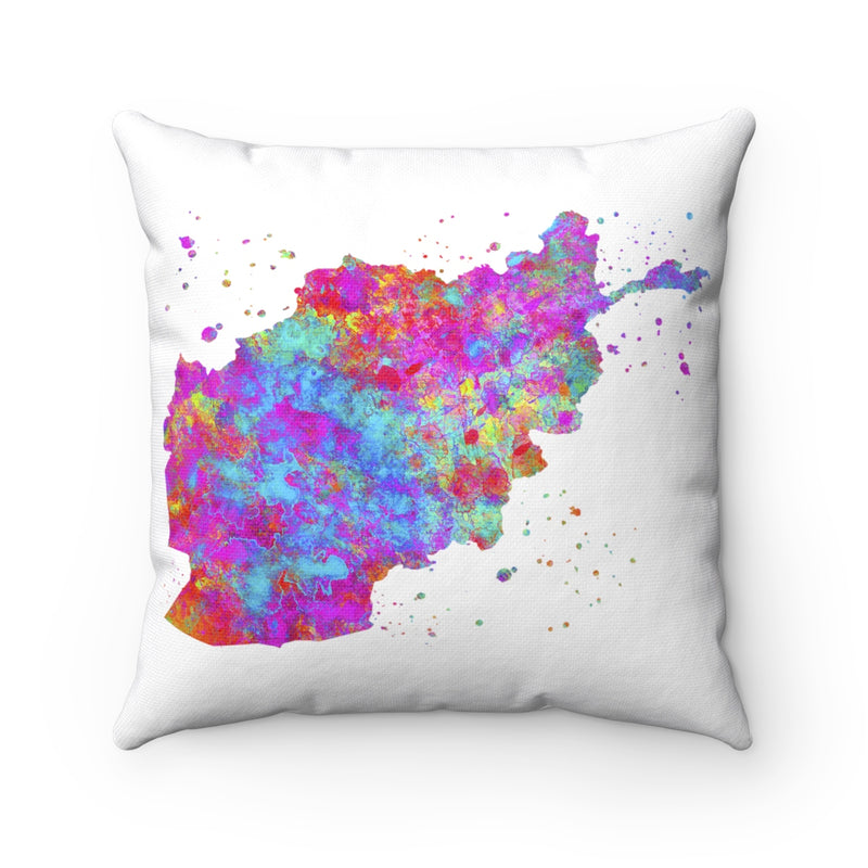 Afghanistan Map Art Square Pillow - Zuzi's