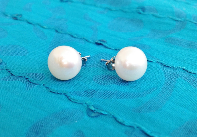 925 Sterling Silver and Pink Natural Freshwater Pearls Earrings- Studs - Zuzi's