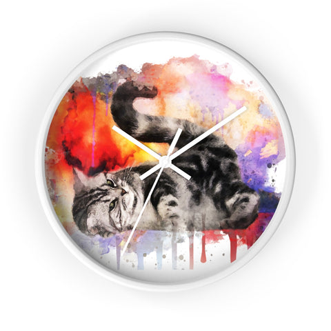 Watercolor Kitten Wall Clock