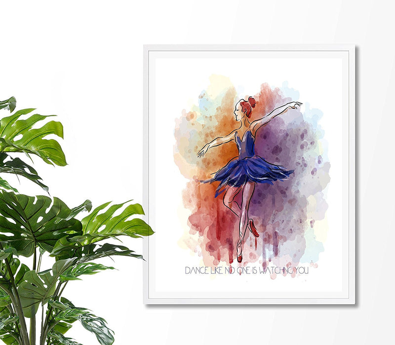 Dance like no one is watching you Ballerina Art Print - Unframed - Zuzi's