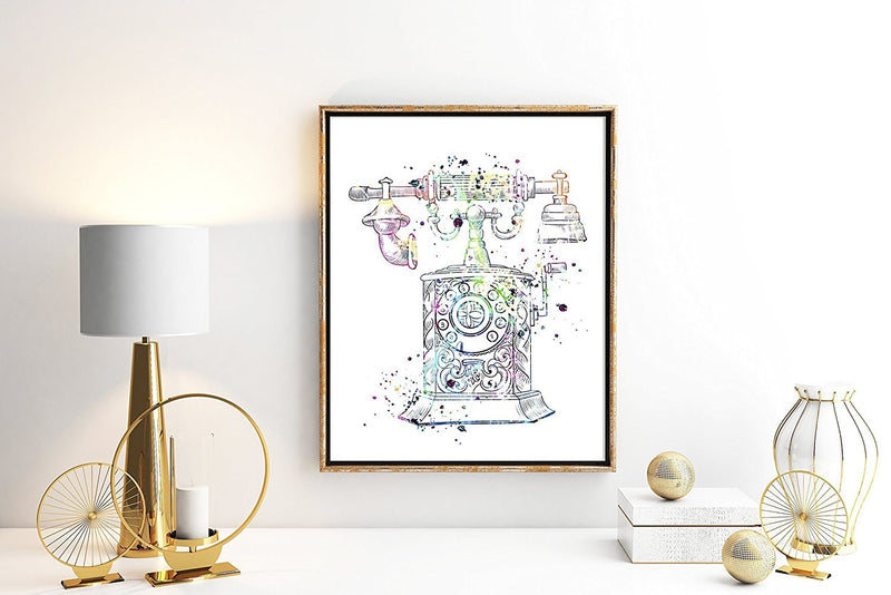 Vintage Telephone Watercolor Art Print - Unframed