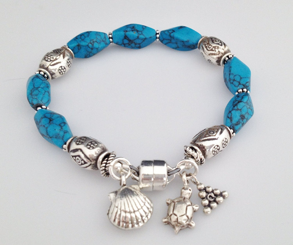 Sterling Silver and Blue Howlite Bracelet with Charms and Magnetic Clasp 6 1/2 inch