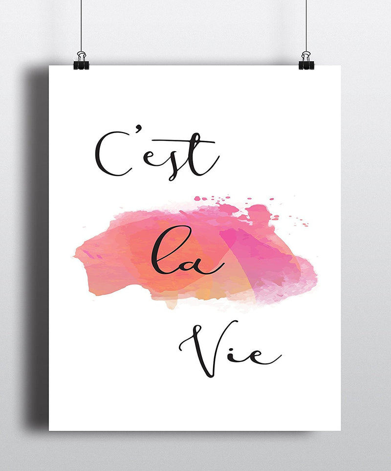 C'est la vie Watercolor Quote Art Print - Unframed - Zuzi's