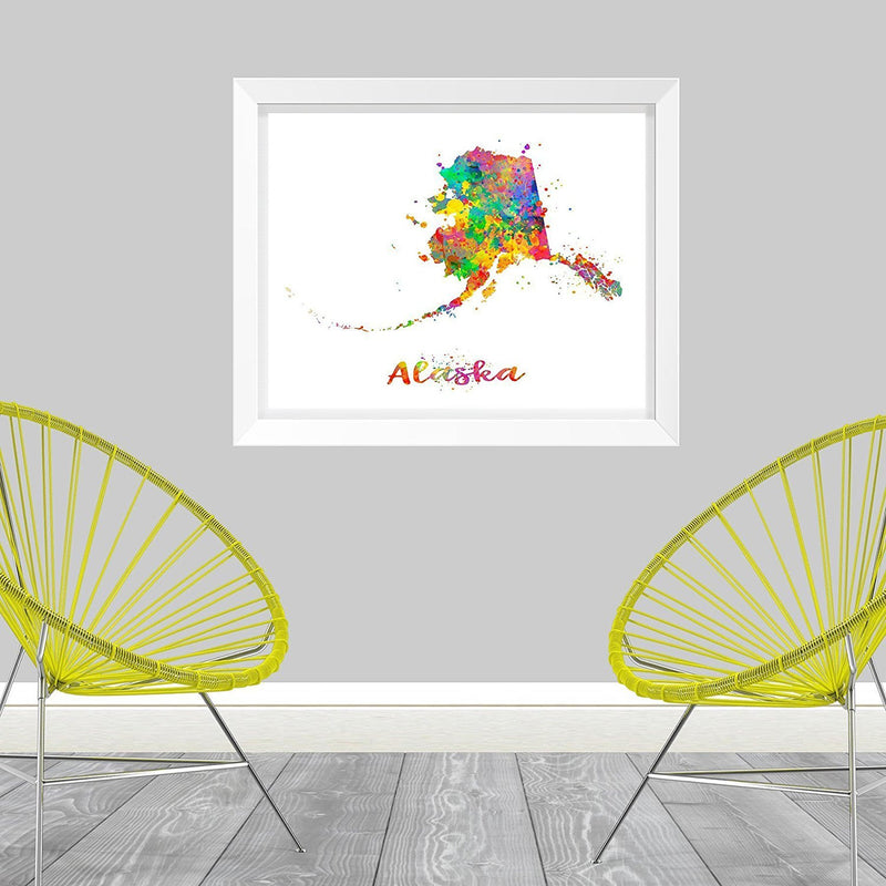 Alaska Map Art Print - Unframed - Zuzi's