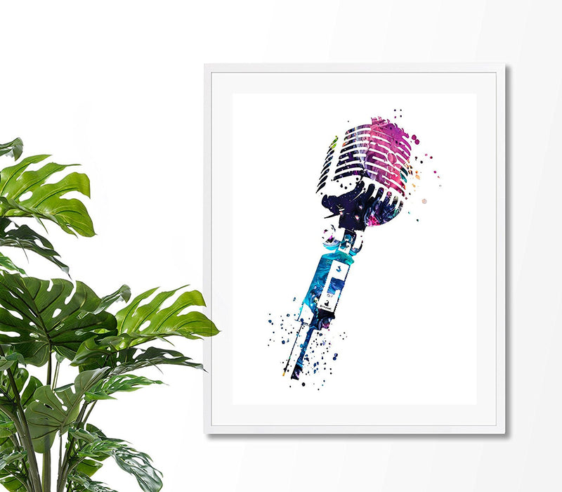 Microphone Watercolor Art Print - Unframed - Zuzi's