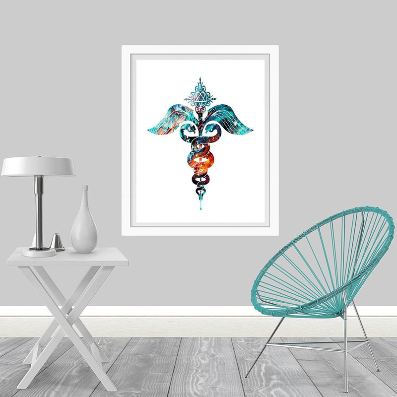 Caduceus Watercolor Art Print - Unframed - Zuzi's