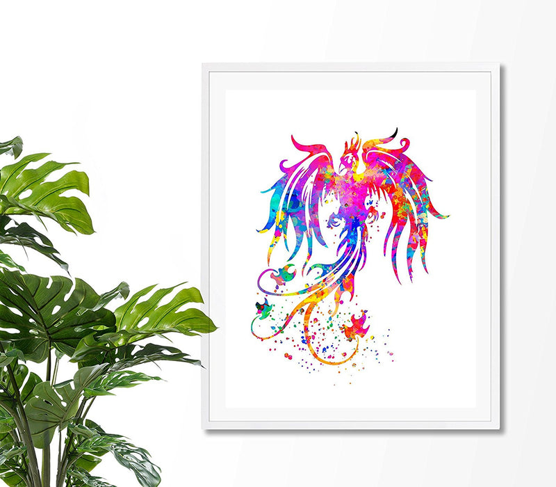 Phoenix Bird Watercolor Art Print  - Unframed - Zuzi's
