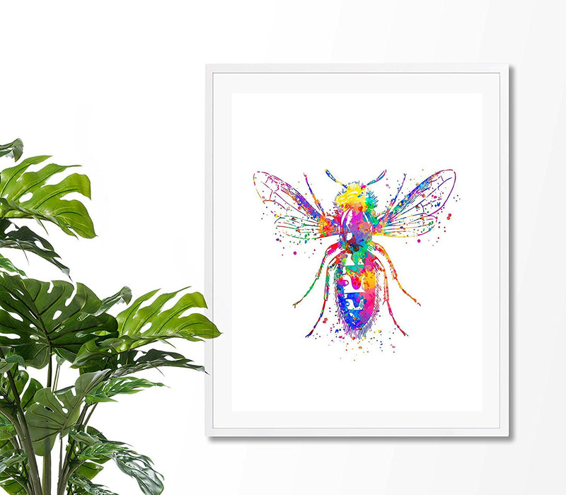 Bee Watercolor Art Print - Unframed - Zuzi's
