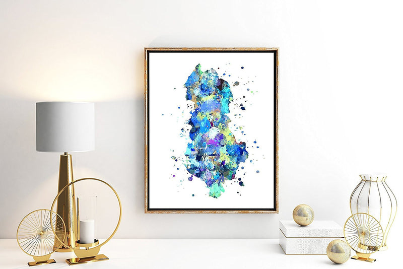 Albania Map Watercolor Art Print - Unframed - Zuzi's