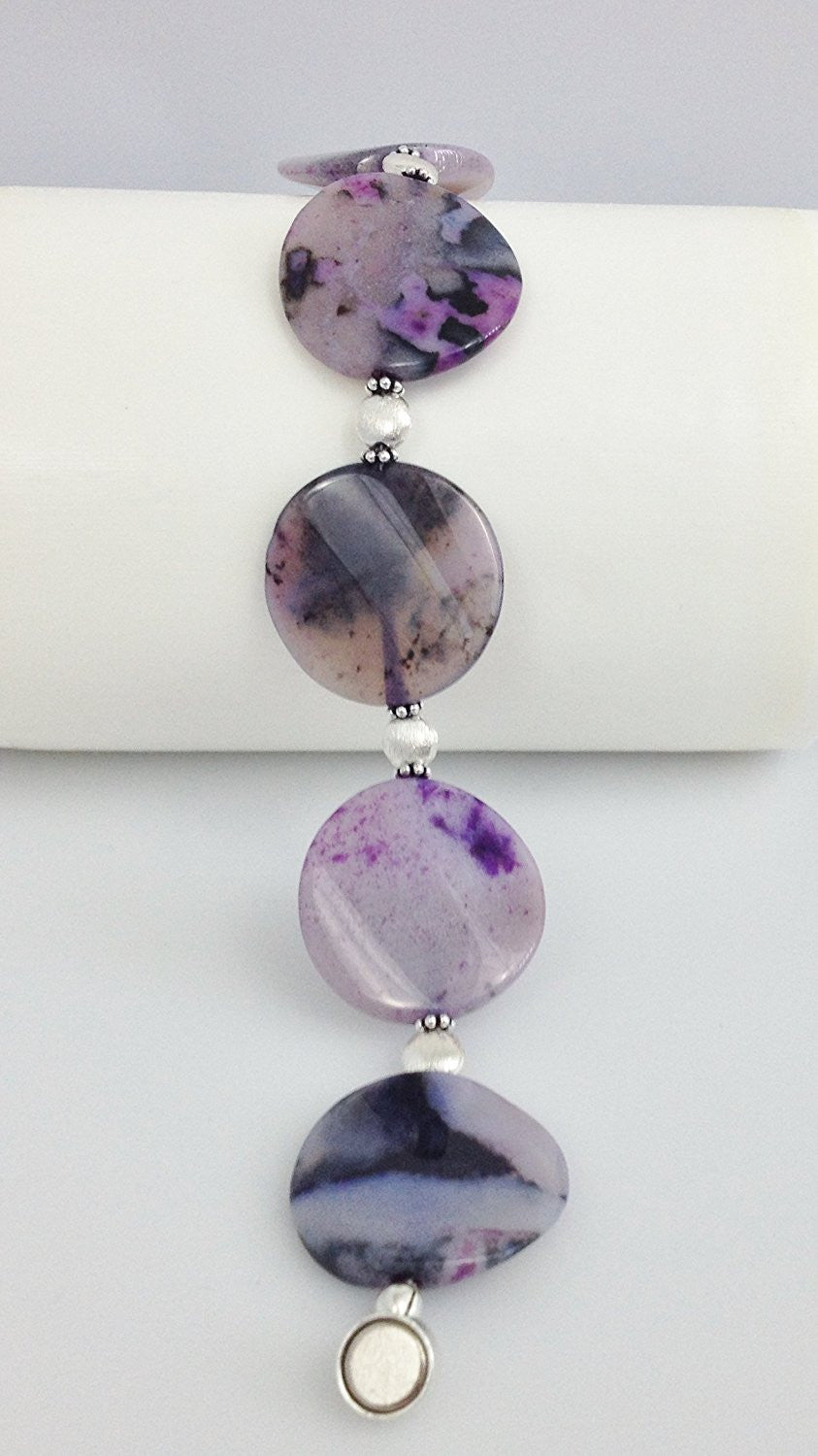 Sterling Silver and Purple Crazy Agate Bracelet with Magnetic Clasp and Charm  Size 7 1/2