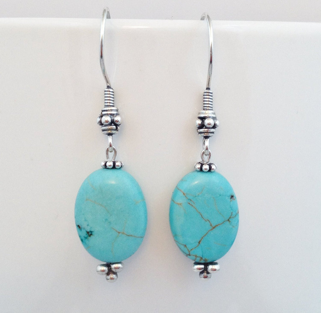925 Bali Sterling Silver and Natural Turquoise Earrings - Zuzi's