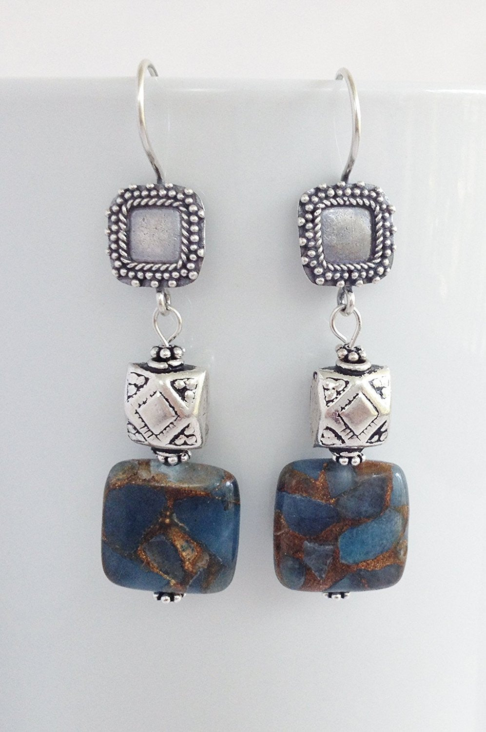 Bali Sterling Silver , Aquamarine and Gold Vein Pyrite Earrings - Zuzi's