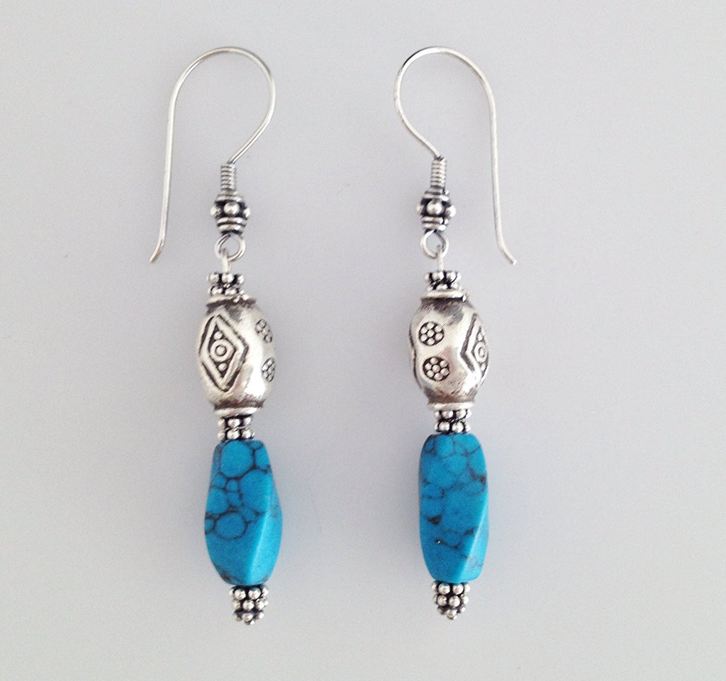 Sterling Silver and Blue Howlite Earrings