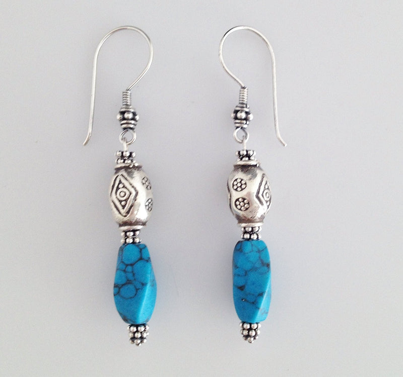 Sterling Silver and Blue Howlite Earrings - Zuzi's