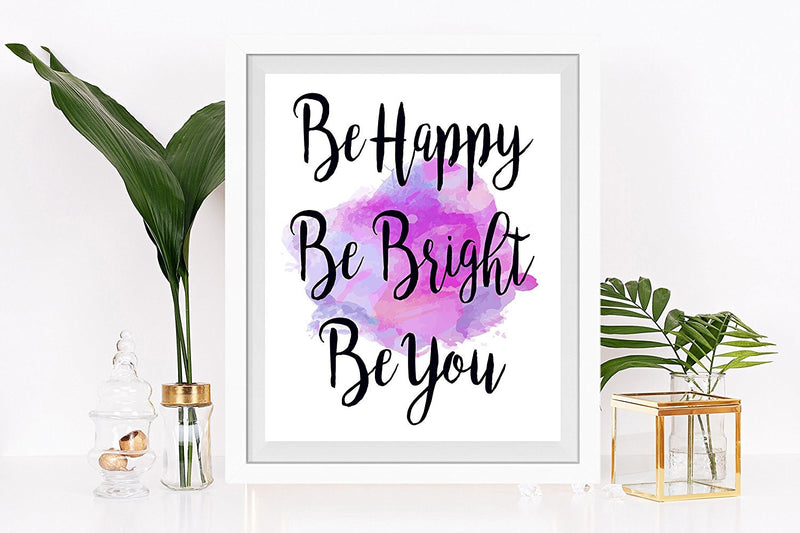 Be Happy, Be Bright, Be You Watercolor Quote Art Print - Unframed - Zuzi's