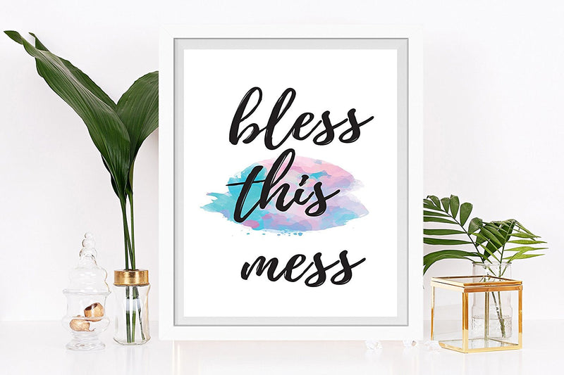 Bless This Mess Watercolor Art Print - Unframed - Zuzi's