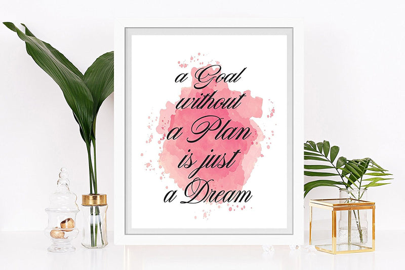 A Goal Without a Plan is Just a Dream Quote Art Print - Unframed - Zuzi's