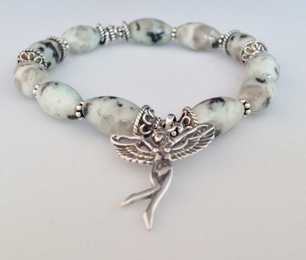 925 Bali Sterling Silver and Dot Jasper Stretch Bracelet With Fairy Charm - Zuzi's