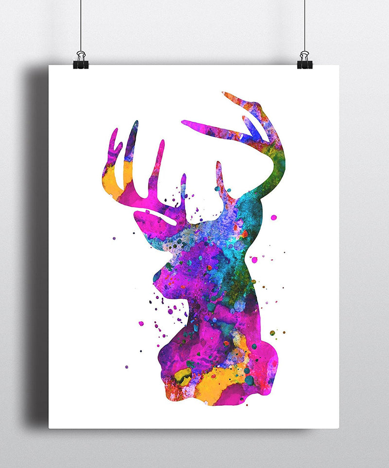Stag Head Watercolor Art Print - Unframed - Zuzi's