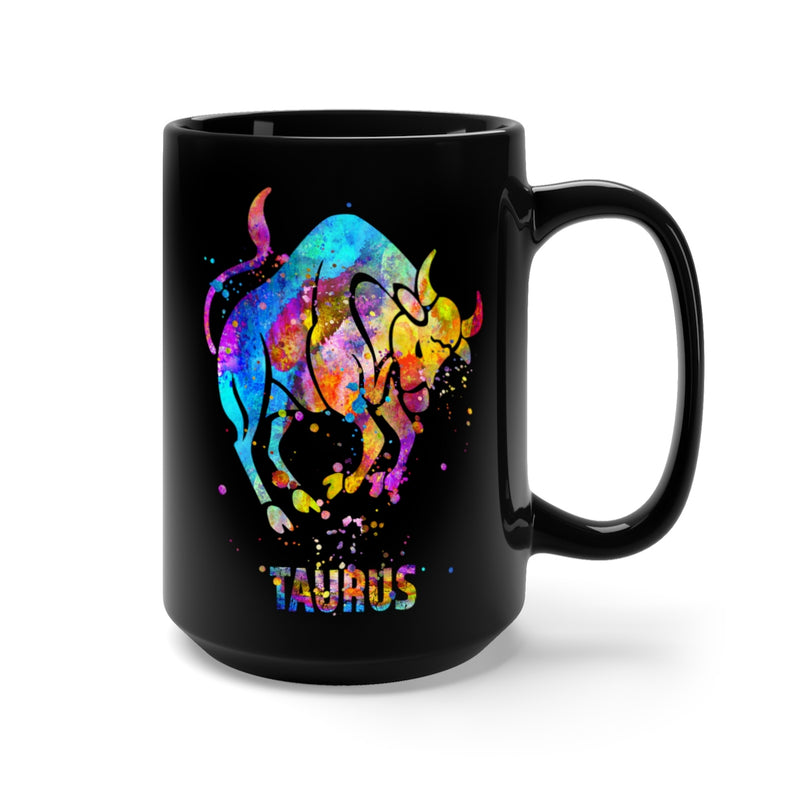 Taurus Zodiac Sign Black Mug 15oz - Zuzi's