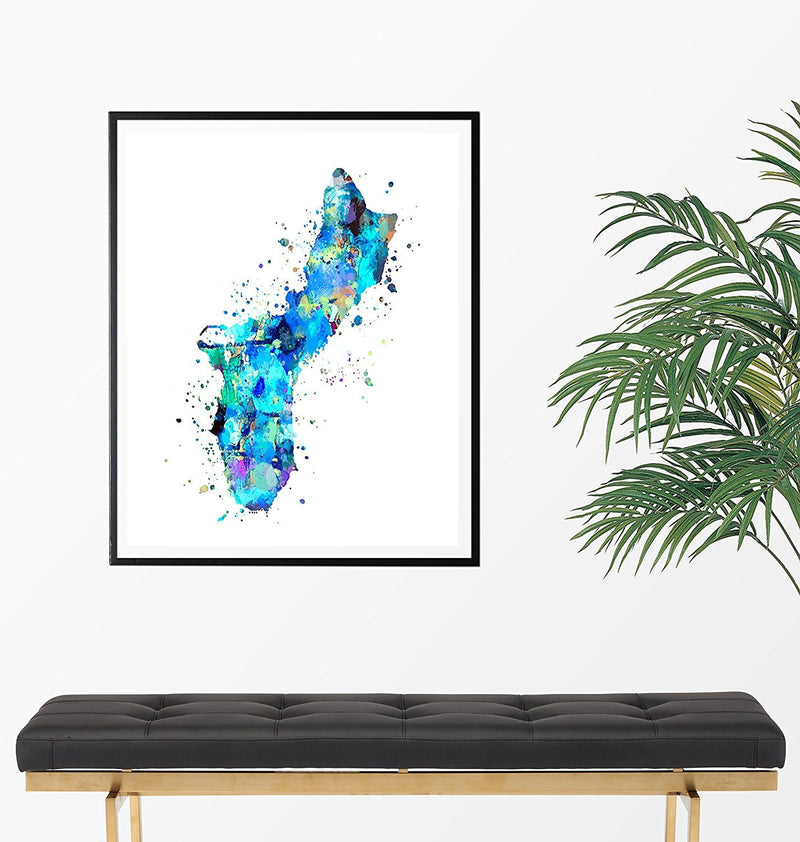 Guam Map Art Print - Unframed - Zuzi's