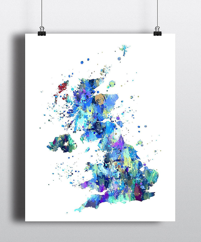 United Kingdom Map Art Print - Unframed - Zuzi's