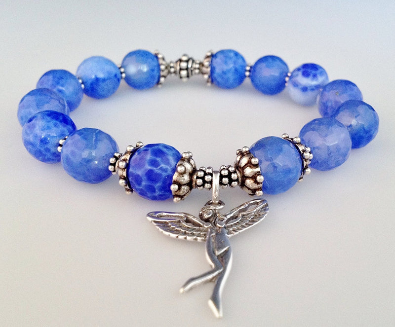 925 Bali Sterling Silver and Blue Fire Agate Stretch Bracelet with Fairy Charm