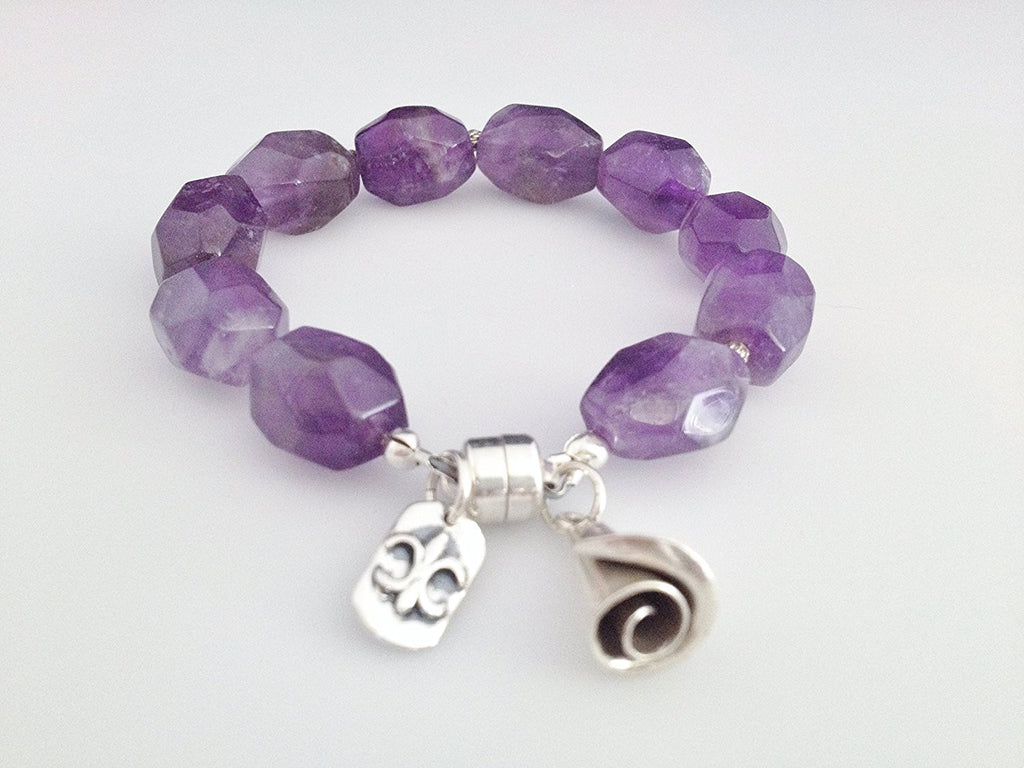 Sterling Silver and Natural Amethyst Bracelet with Charms and Magnetic Clasp Size 6 3/4 inch - Zuzi's