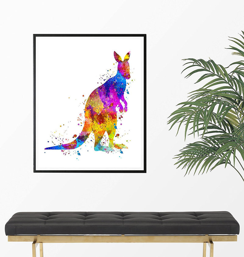 Kangaroo Watercolor Art Print - Unframed - Zuzi's