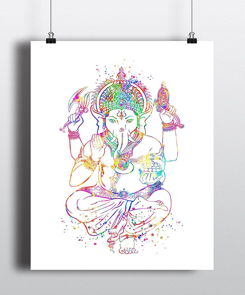 Ganesha Watercolor Art Print - Unframed