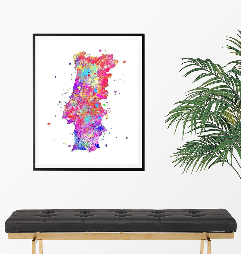 Portugal Map Art Print - Unframed - Zuzi's