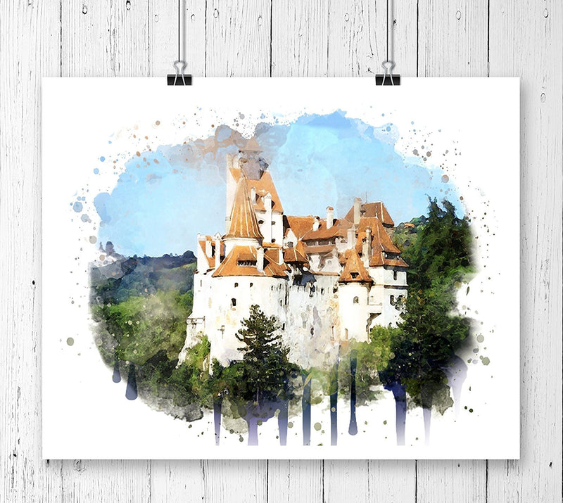 Dracula Castle Watercolor Art Print - Unframed