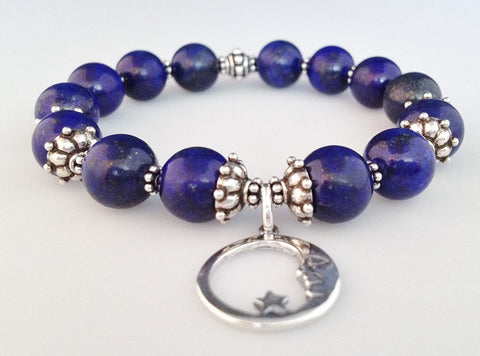 925 Bali Sterling Silver and Natural Lapis Lazuli Stretch Bracelet with Moon and Star Charm