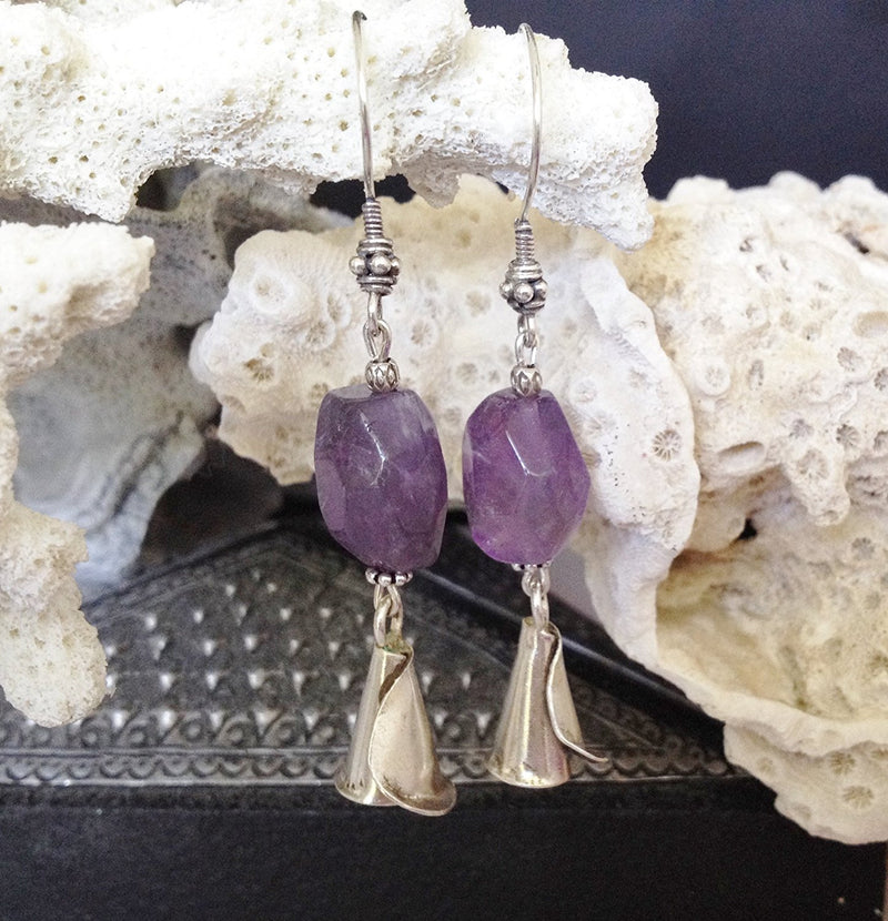 Sterling Silver and Natural Amethyst Earrings - Zuzi's