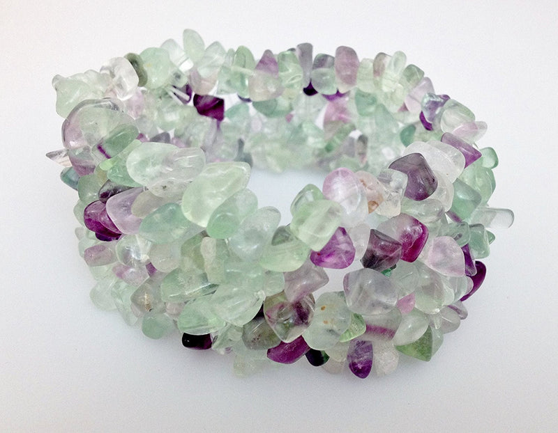 Natural Chip Green Fluorite Stretch Bracelet - Zuzi's