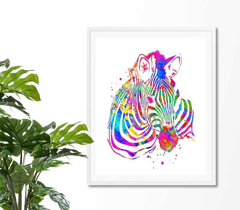 Zebra Watercolor Art Print - Unframed - Zuzi's