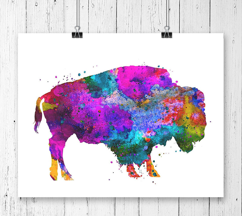 Buffalo Watercolor Art Print - Unframed