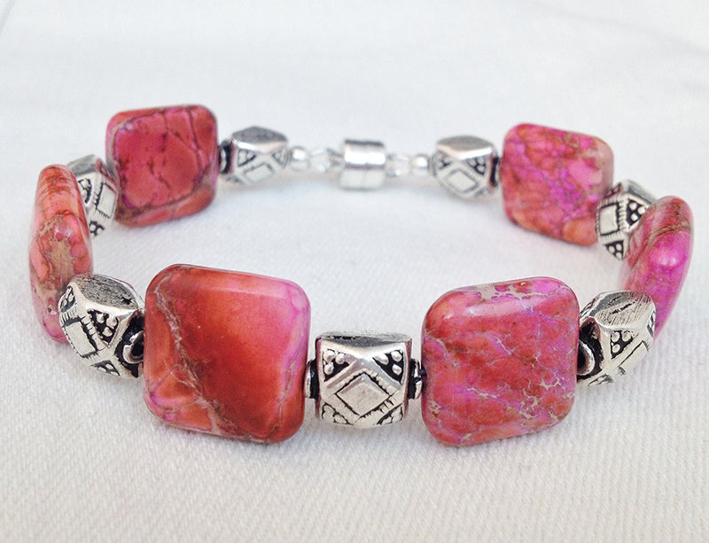 Pink Jasper and Sterling Silver Bracelet with Magnetic Clasp Size 7 1/4 inch - Zuzi's
