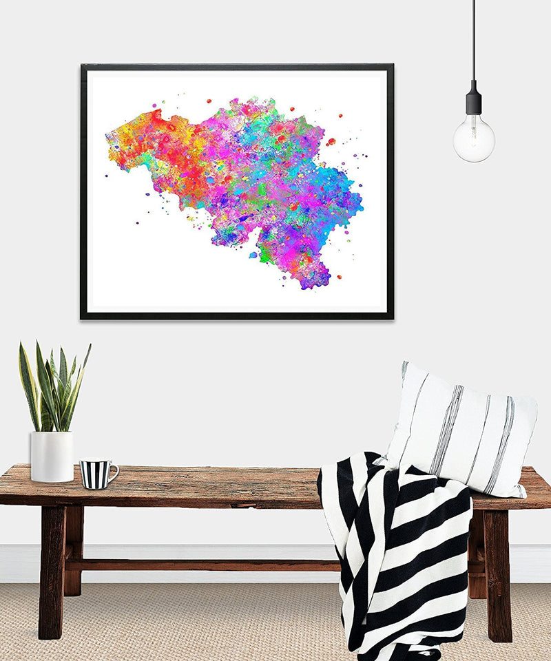 Belgium Map  Watercolor Art Print - Unframed - Zuzi's