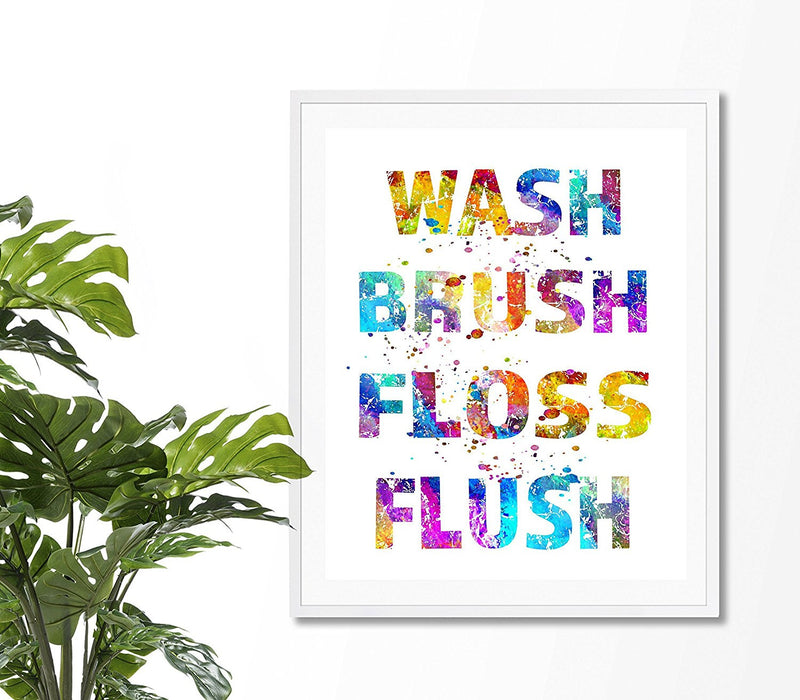 Wash Brush Floss Flush Quote Art Print - Unframed - Zuzi's