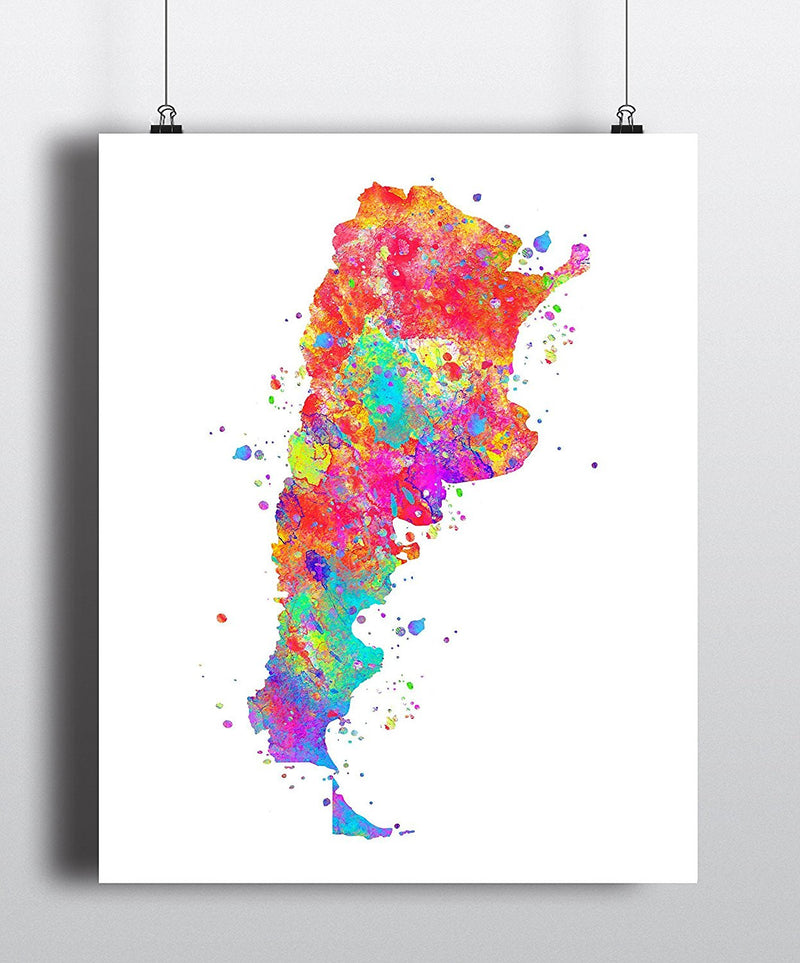 Argentina Map Watercolor  Art Print - Unframed - Zuzi's