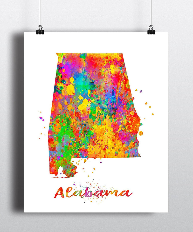Alabama Map Art Print - Unframed