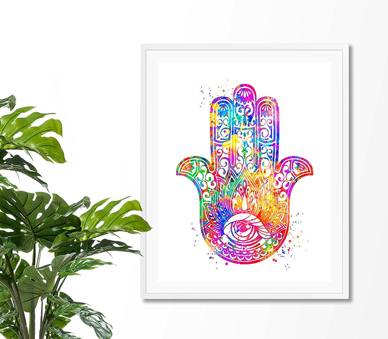 Hamsa Hand Watercolor Art Print - Unframed - Zuzi's