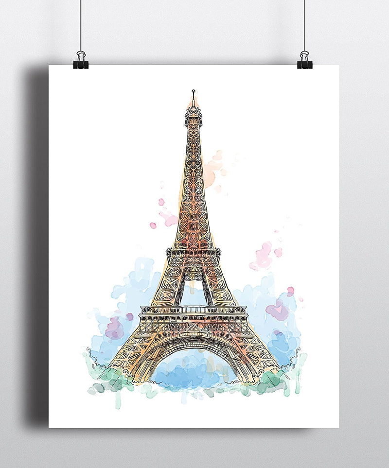 Eiffel Tower Watercolor Art Print - Unframed