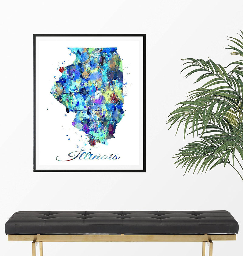 Illinois Map Watercolor Art Print - Unframed - Zuzi's