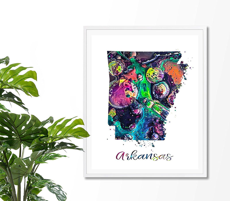 Arkansas Map Watercolor Art Print - Unframed - Zuzi's