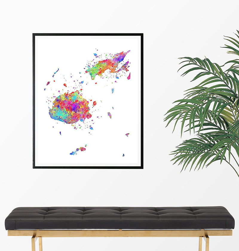 Fiji Map Art Print - Unframed - Zuzi's