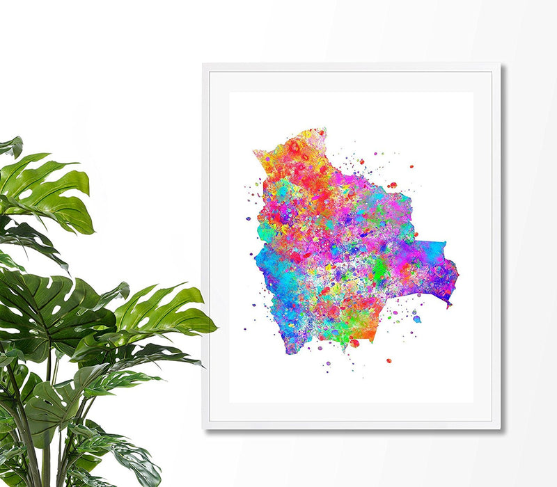 Bolivia Map Art Print - Unframed - Zuzi's