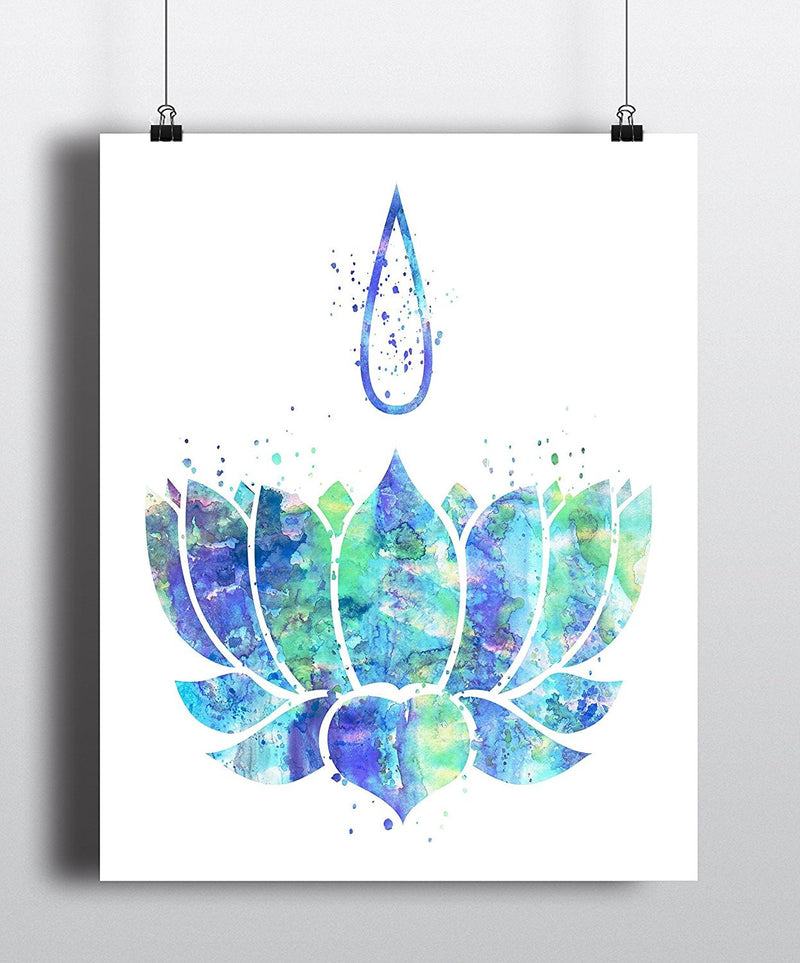 Lotus Watercolor Art Print - Unframed